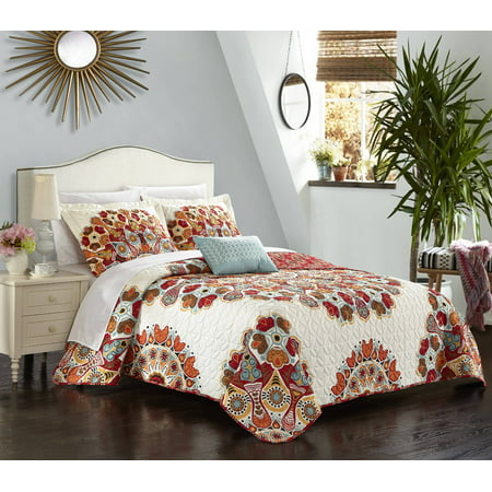 Chic Home Alain 4 Piece Reversible Quilt Cover Set Microfiber Large Scale Paisley Print with Contemporary Geometric Patterned Backing Bedding with Decorative Pillows Shams, Queen - Black Red Paisley