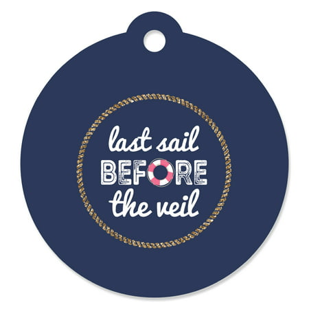 Last Sail Before The Veil  -Nautical Bridal Shower & Bachelorette Party Favor Gift Tags-Set of 20 - Bachelorette Gifts