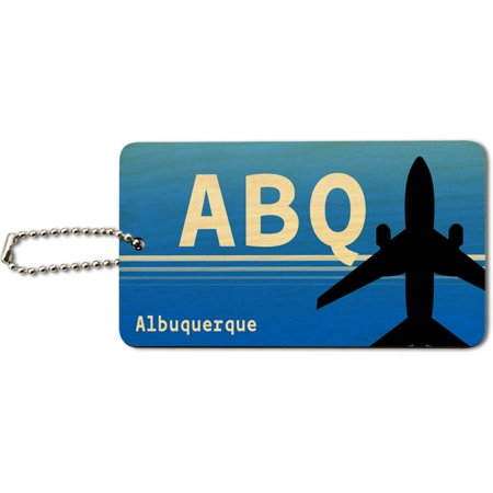Party City Albuquerque Nm (Albuquerque NM (ABQ) Airport Code Wood ID Tag Luggage Card for Suitcase or)