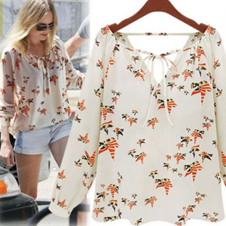 EFINNY New Women Summer Elegant Casual Floral Print Chiffon Long Sleeve Shirts Blouse Tops](Ladies Pirate Blouse)