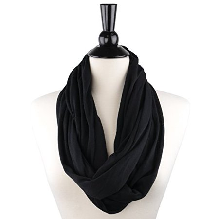 Scarf With Pockets - Pop Fashion Womens Infinity Scarf with Zipper Pocket & Pattern Print
