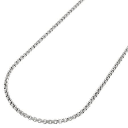 """Sterling Silver 1.5mm Round Box Link Solid 925 Rhodium Necklace Chain 16"""" - 24"""""""