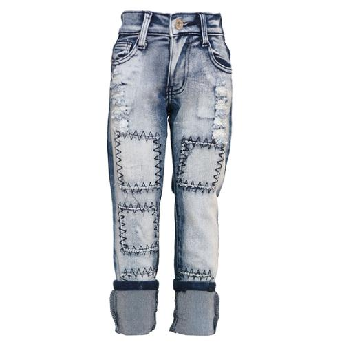 Little Girls Blue Two Tone Rough Patch Detail Turn Up Cuff Denim Pants 4