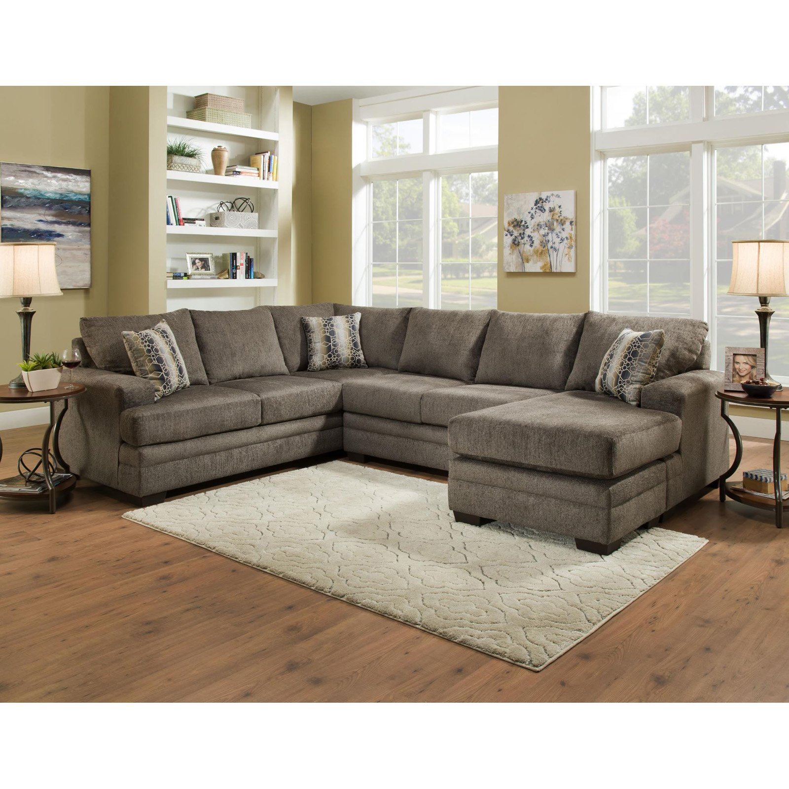 Chelsea Home Furniture Campbell 3 Piece U Shaped Sectional Sofa