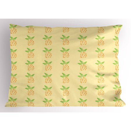 Exotic Pillow Sham Watercolor Pineapple with Brush Strokes Hawaii Themed Illustration, Decorative Standard Size Printed Pillowcase, 26 X 20 Inches, Orange Pale Yellow Green, by Ambesonne