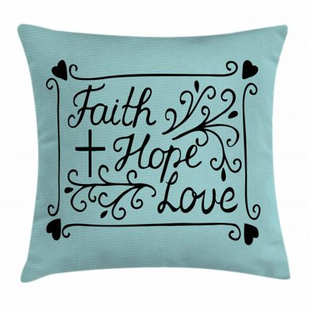 Hope Throw Pillow Cushion Cover Hand Lettering Spiritual Faith Hope