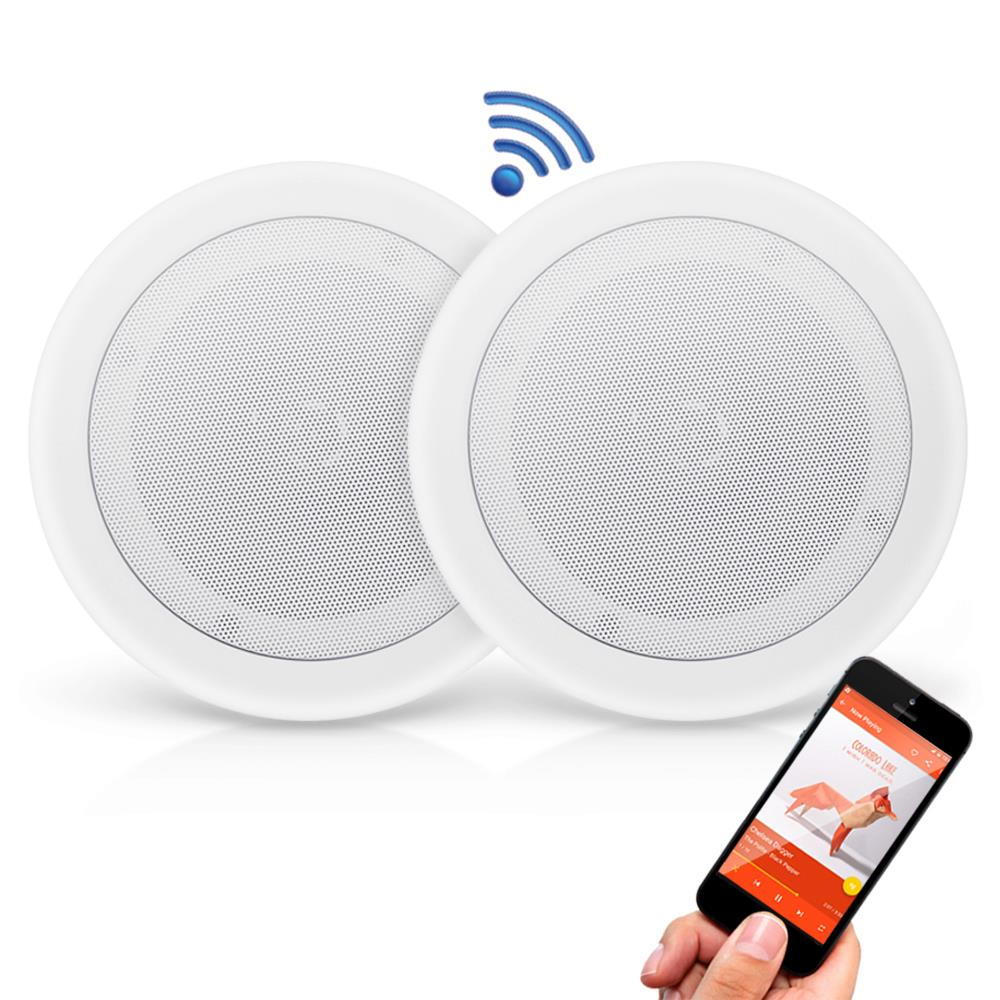 PYLE PDICBT852RD - Dual 8'' Bluetooth Ceiling / Wall Speakers, 2-Way Flush Mount Home Speaker Pair, 250 Watt
