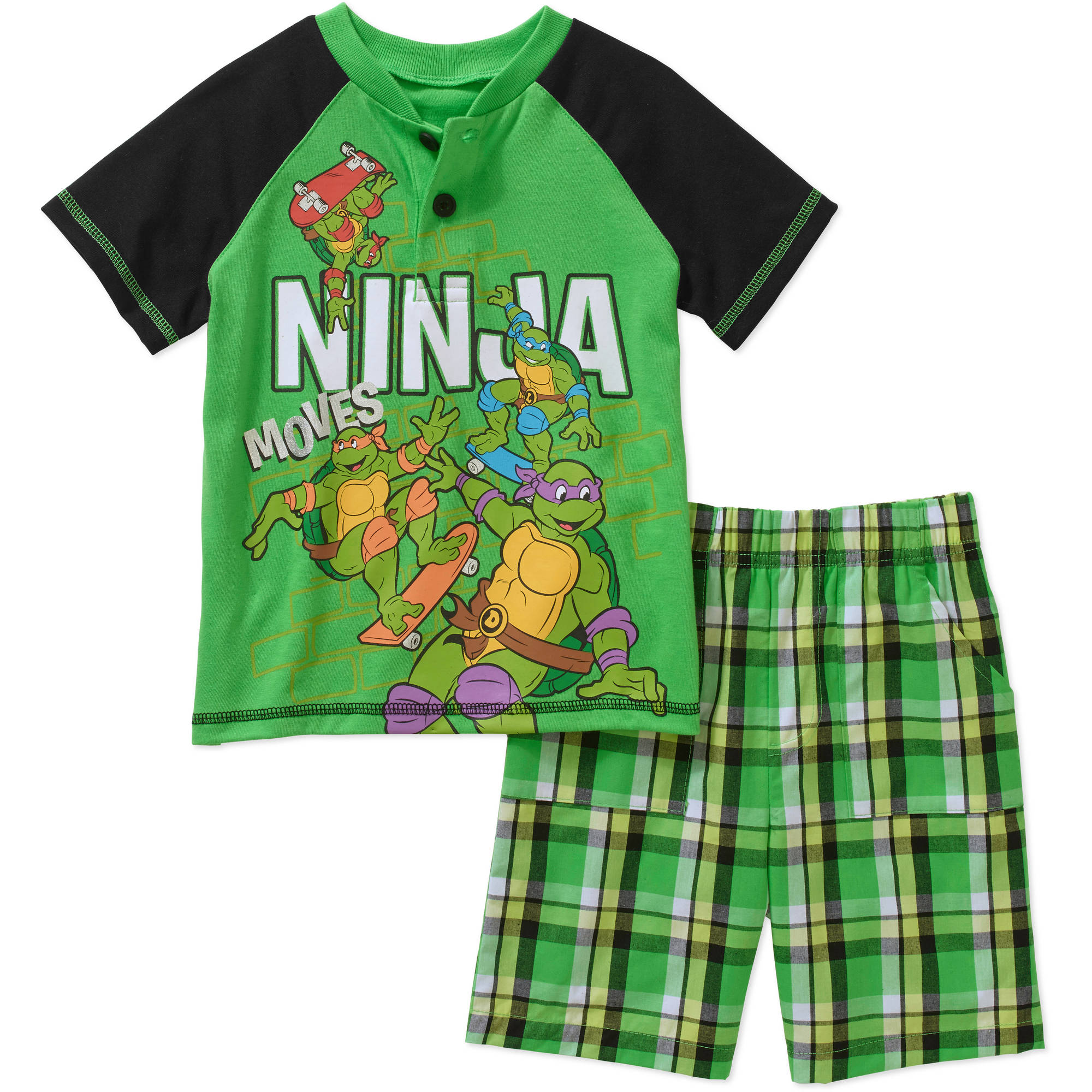 Teenage Mutant Ninja Turtles Toddler Boys' Graphic Polo Tee Shirt and Shorts Outfit Set