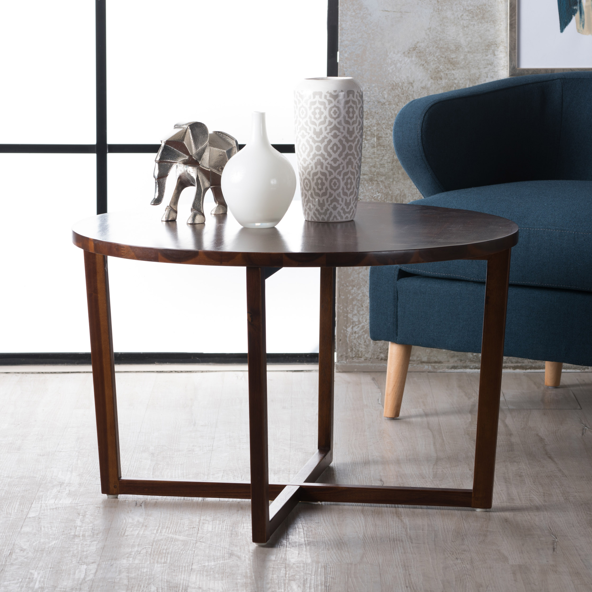 Noble House Franklin Wood Coffee Accent Table, Rich Mahogany