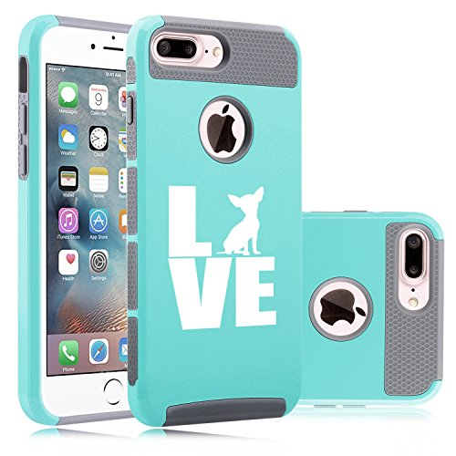 For Apple iPhone (7 Plus) Shockproof Impact Hard Soft Case Cover Love Chihuahua (Teal-Gray)