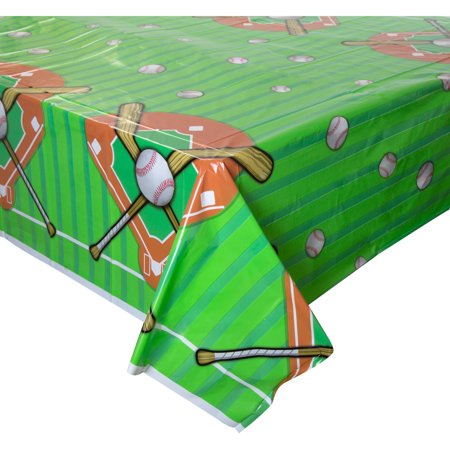 Baseball Plastic Party Tablecloth, 84 x 54in](Plastic Tablecloths Decorating)