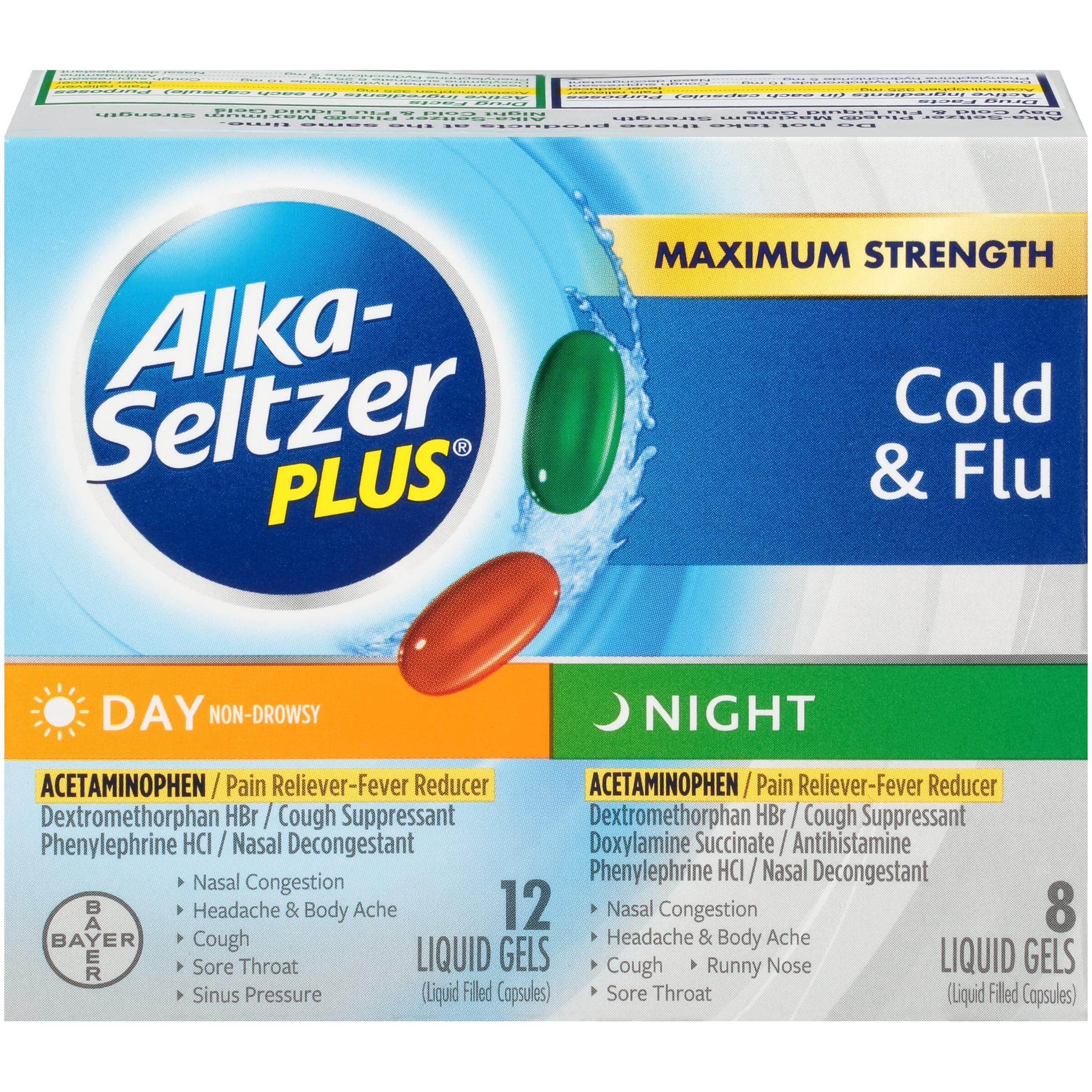 Alka-Seltzer Plus Day & Night Multi-Symptom Cold & Flu, Liquid Gels, 20 ct
