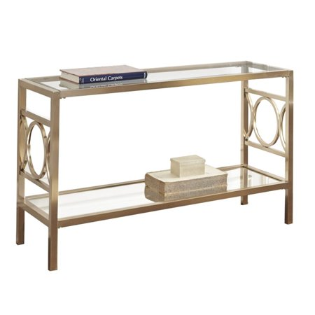 Bowery Hill Glass Top Console Table in Gold Chrome - image 3 of 3