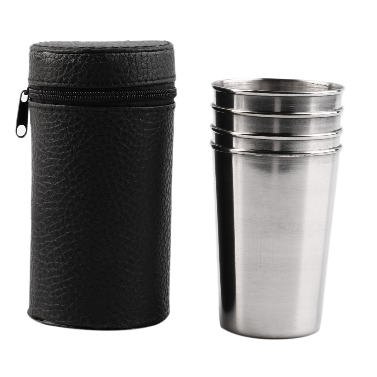 1 Set of 4 Stainless Steel Camping Cup Mug Drinking Coffee Tea With Case