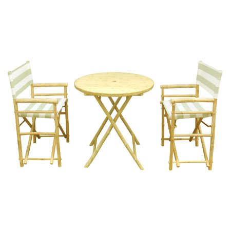Zew Hand Crafted 3 Piece Round Folding Bamboo Patio Dining Set with Director (Bamboo Dining Sets)