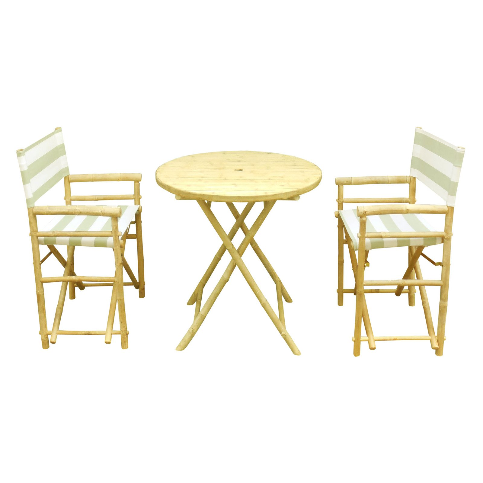 Zew Hand Crafted 3 Piece Round Folding Bamboo Patio Dining Set with Director Chairs