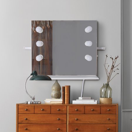 Organizedlife Wall Mounted Makeup  Mirror with LED Lights Dressing Mirror with wood Frame for Bedroom and Professional (Salon Mirror)