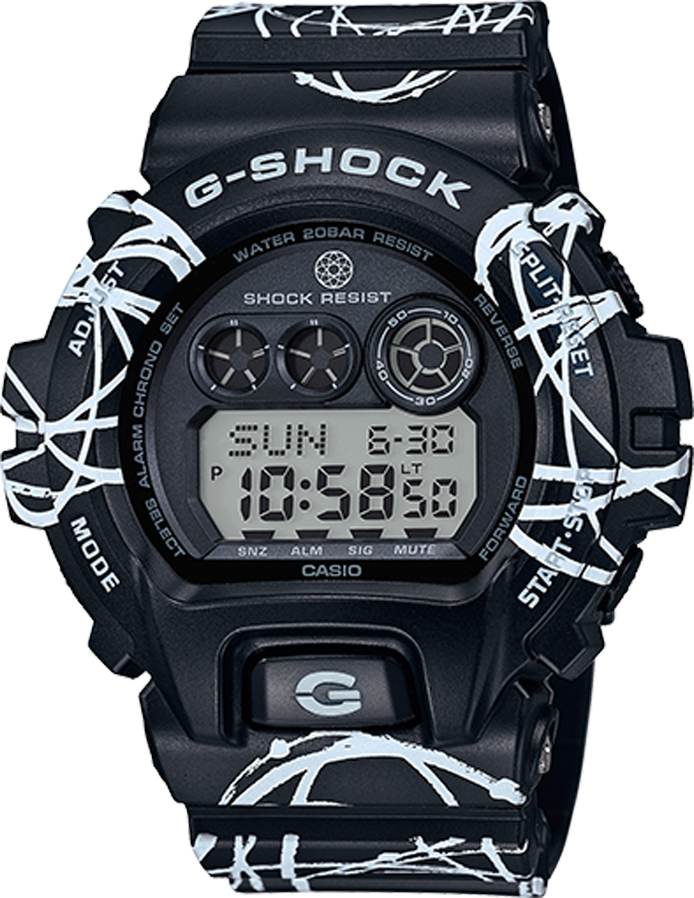 Unisex Black Resin Case Black Resin Band Digital Watch - GDX6900FTR-1CR