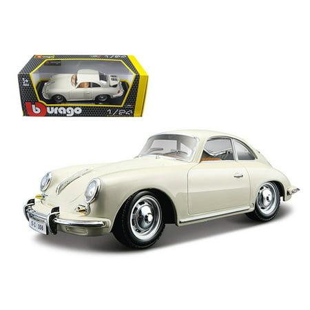 - 1961 Porsche 356 B Coupe Ivory / White 1/24 Diecast Model Car by Bburago