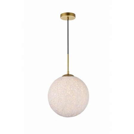 Living District LD2234BR Malibu 1 Light Pendant Ceiling Light with Frosted White Glass, -