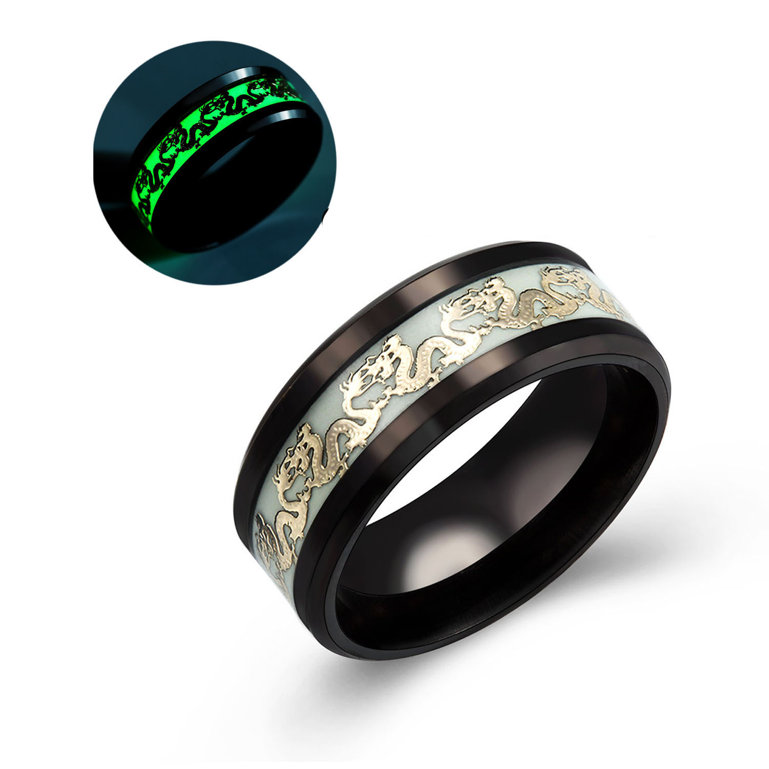 Ginger Lyne Collection Dragon Glow in The Dark Stainless Steel Black Comfort Fit Band Ring