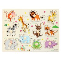 Wooden Zoo Animal / Alphabet ABC Peg Jigsaw Puzzle Toy Early Learning Educational Plate for Baby Toddlers