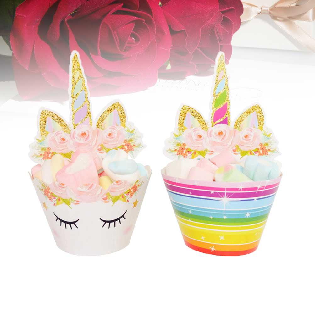 24-pcs Cupcake Topper /& Wrapper SET 5-pcs Handmade Unicorn Cake Topper