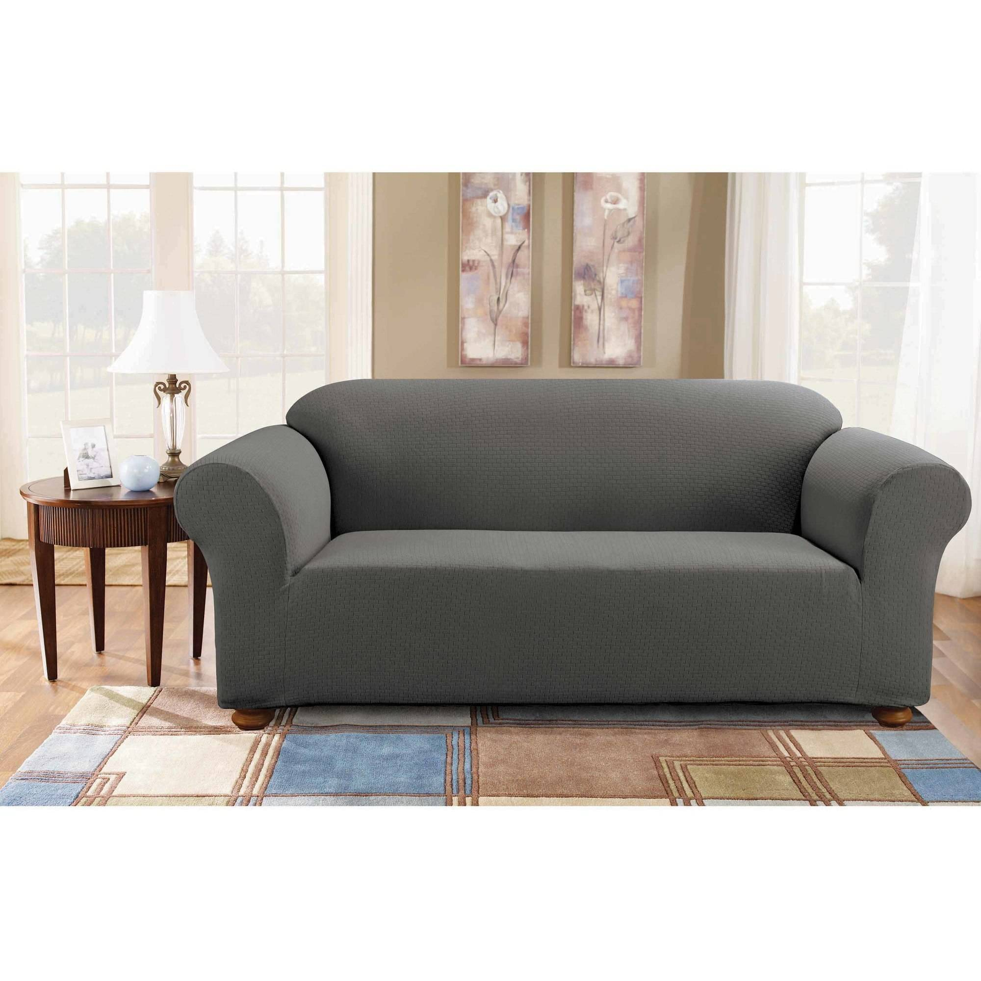 Sure Fit Simple Stretch Subway OnePiece Sofa Slipcover Walmartcom