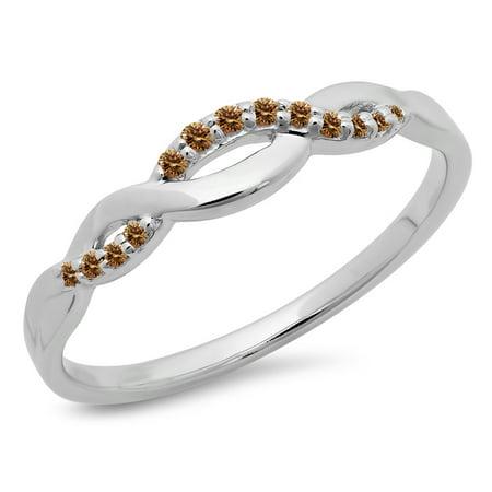 0.10 Carat (ctw) 10K Gold Round Cut Champagne Diamond Ladies Bridal Wedding Band Stackable Swirl Ring
