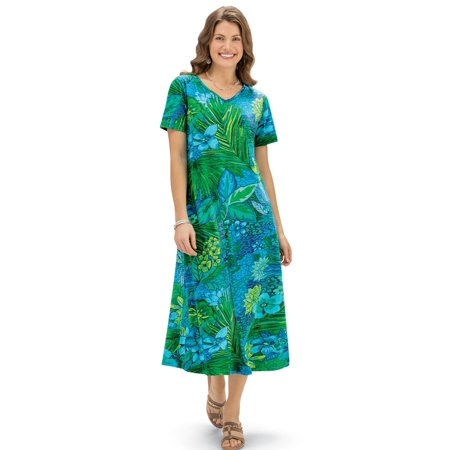 Women's Tropical Print Short Sleeve Knit Dress, Machine Washable (Multi Ring Front Dress)