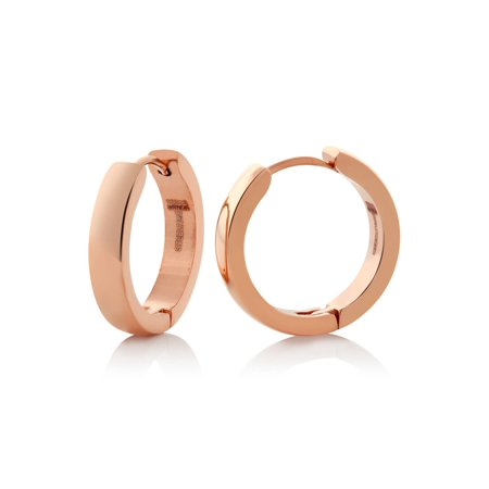 Stainless Steel Rose Gold Plated Round Huggies Hoop Earrings (20mm Diameter)