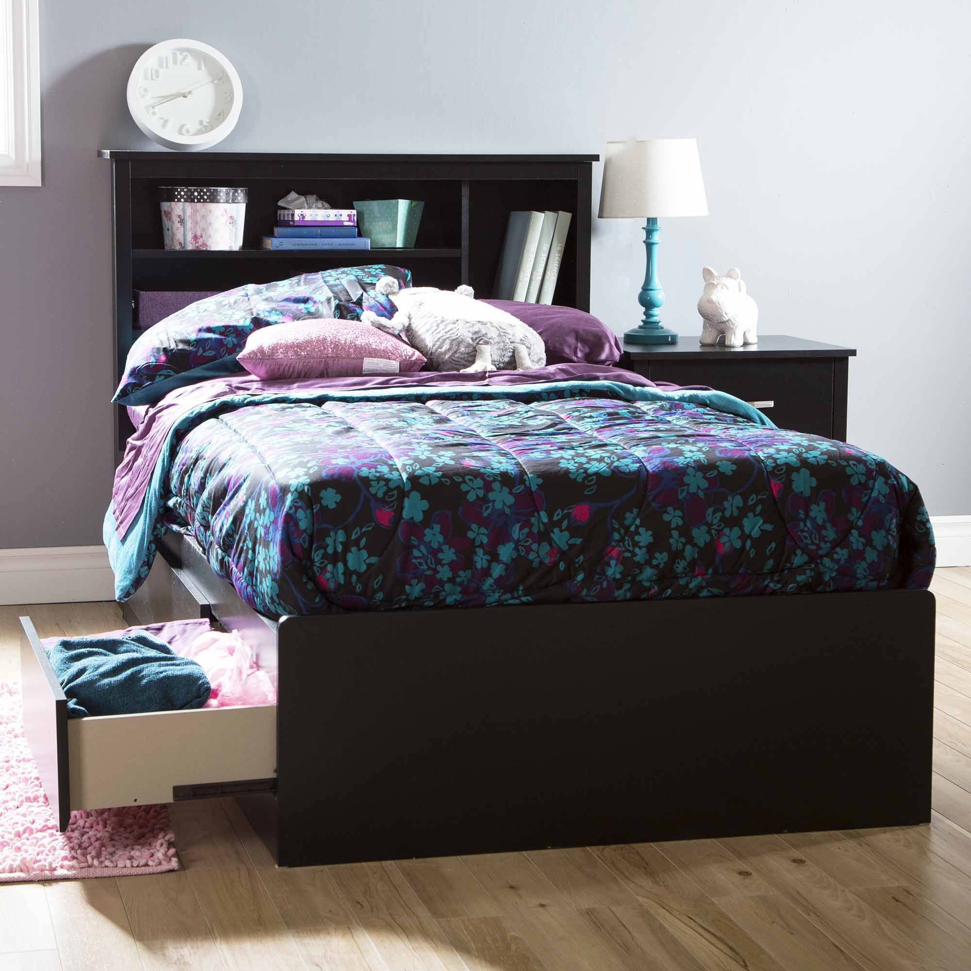 South Shore Basics Twin Storage Bed with 3 Drawers, Multiple Finishes