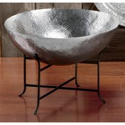 KINDWER Extra-Large 2-ft Hammered Aluminum Decorative Bowl and Black Metal Stand