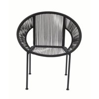 Decmode 30 X 29 Inch Modern Matte Black Plastic and Metal Chair, Black