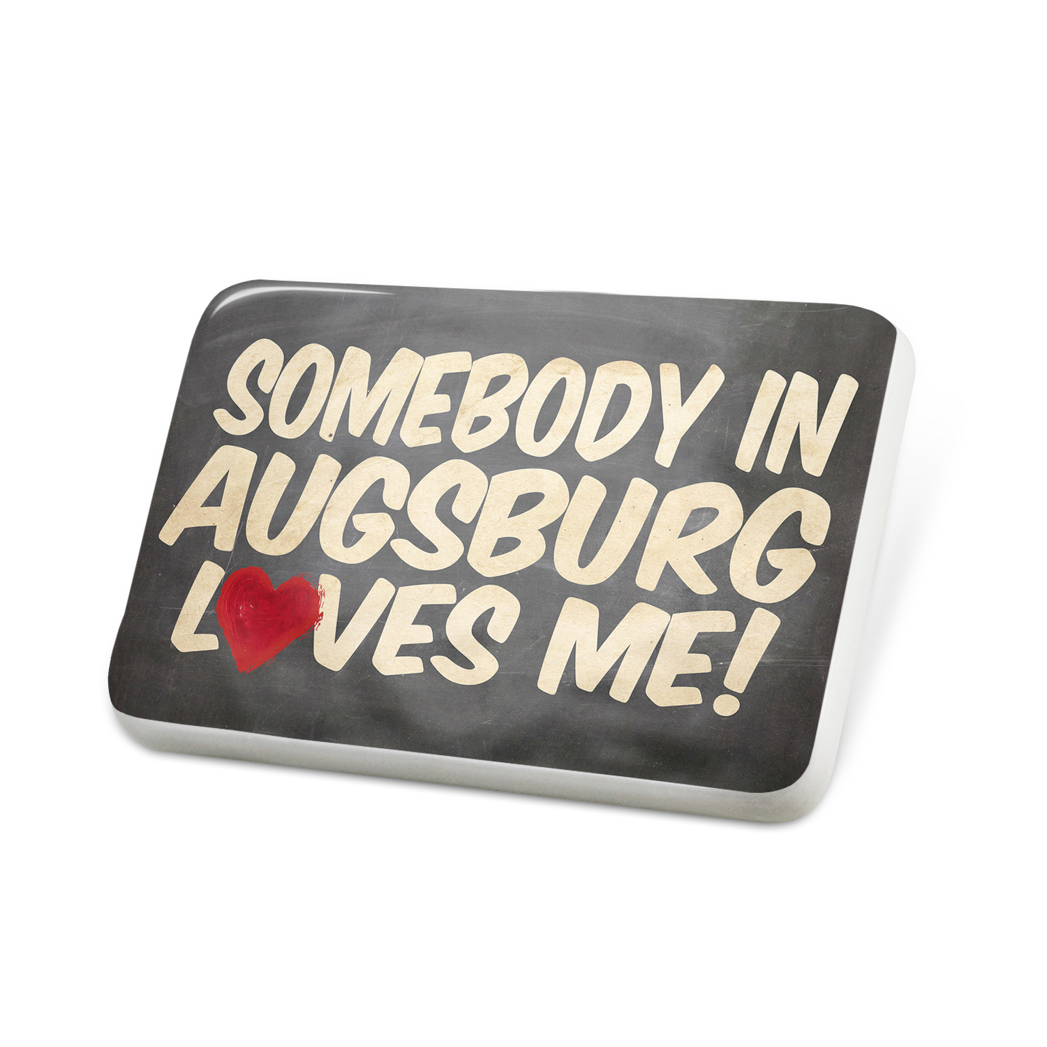 Porcelein Pin Somebody in Augsburg Loves me, Germany Lapel Badge – NEONBLOND
