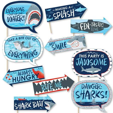 Funny Shark Zone - Shark Week Party - Jawsome Shark Party or Birthday Party Photo Booth Props Kit - 10 - Happy Birthday Shark