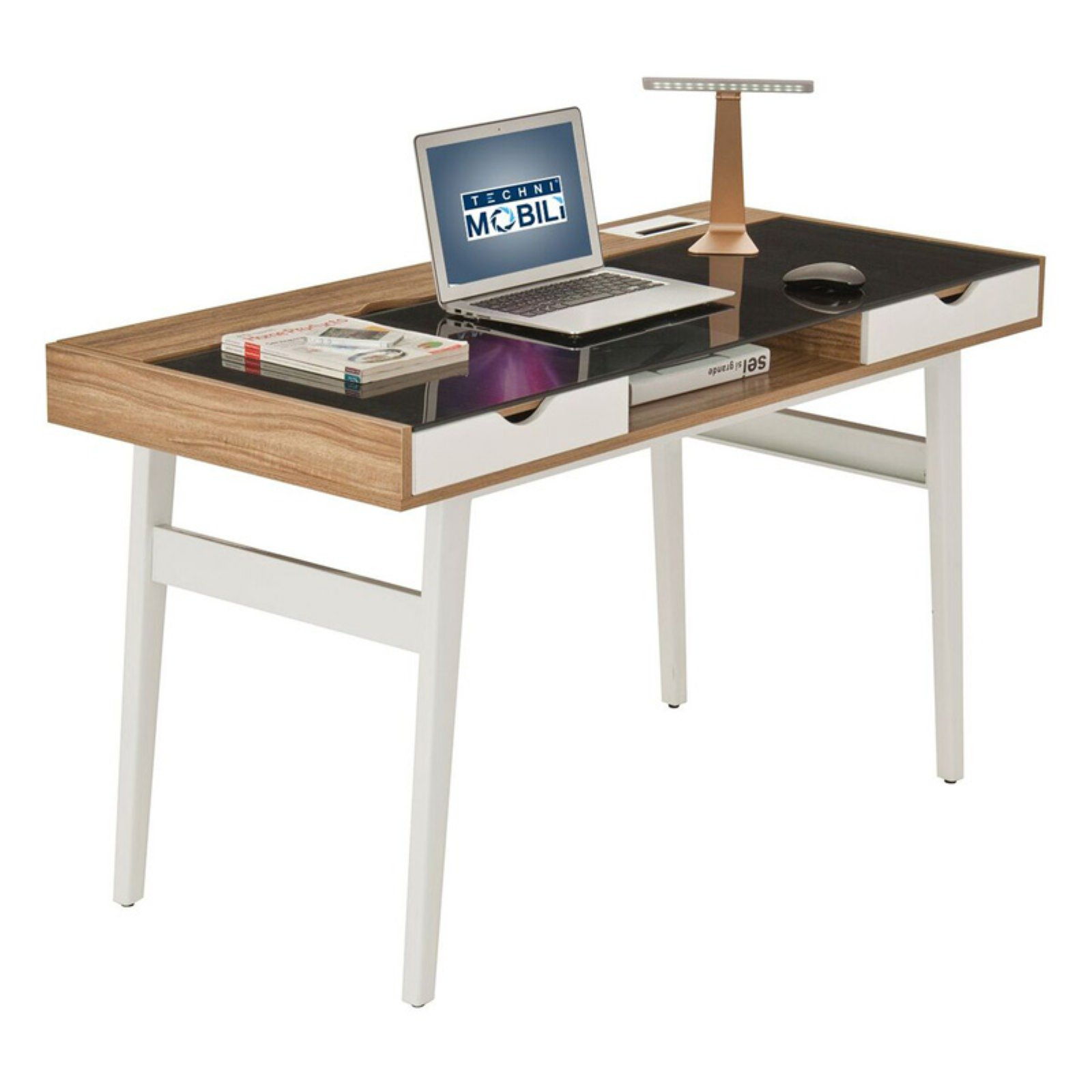 Techni Mobili Compact Computer Desk with Multiple Storage Compartments