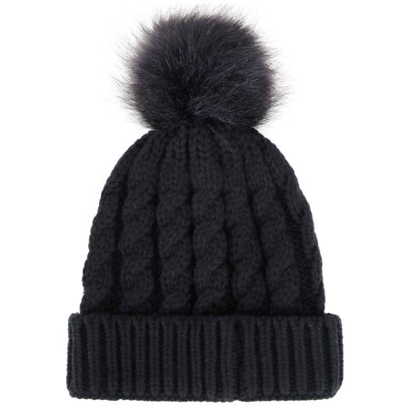 Simplicity - Women s Winter Soft Knitted Beanie Hat with Faux Fur ... c11952a3725