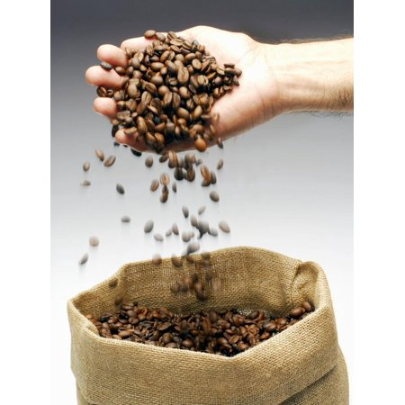 Coffee Beans Falling from Someone's Hand into a Sack Print Wall Art By Gustavo (Falling In Love At A Coffee Shop Chords)