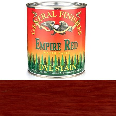 DQR Water Based Dye, 1 quart, Empire Red, Ultra penetrating wood Stains By General Finishes From (Wood Dye)