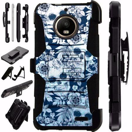 Skull Silicone Case (For Motorola Moto G6 Case Armor Hybrid Silicone Cover Stand LuxGuard Holster (Skull)