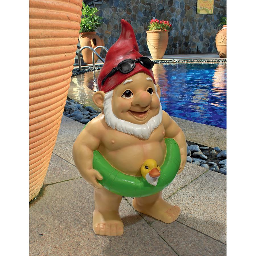 Pool Party Pete Naked Gnome Statue by Design Toscano