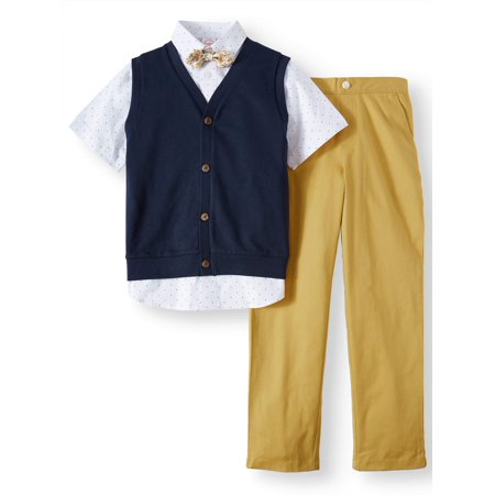 Boys' Dressy Set With Knit Vest, Short Sleeve Printed Shirt, Bow Tie and Twill Pull-On Pants, 4-Piece Outfit - Easter Suit