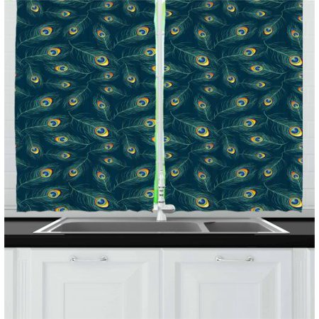 859079e7f5 Feather Curtains 2 Panels Set, Colorful Middle Eastern Exotic Peacock  Feather Motifs on a Dark