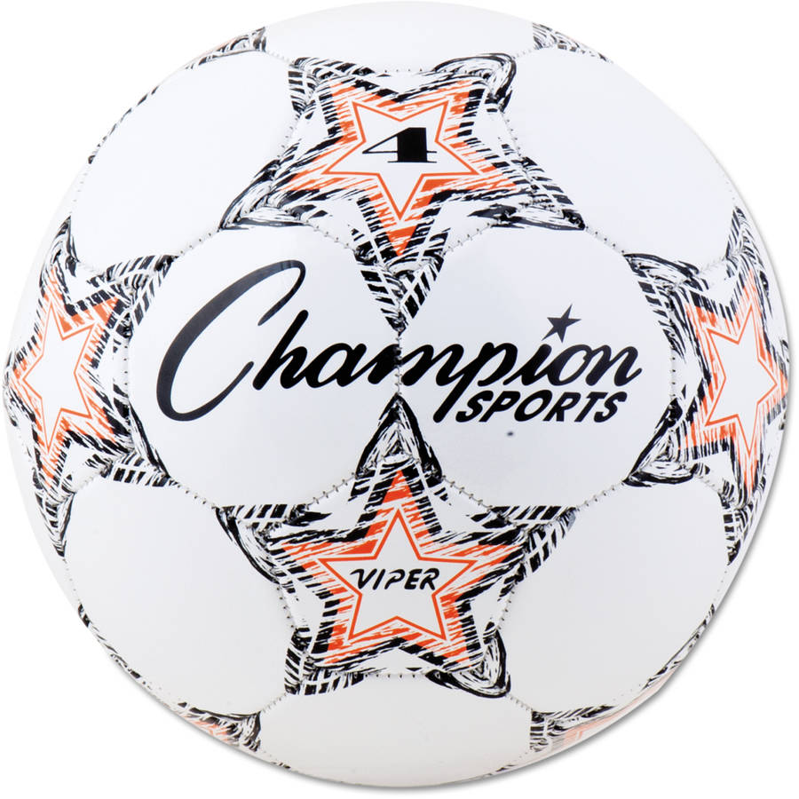 Champion Sports VIPER Soccer Ball, Size 4, White