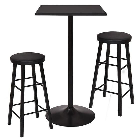 Pc Square Pub Table Set: Gymax 3 Piece Square Bar Table Dining Set Kitchen