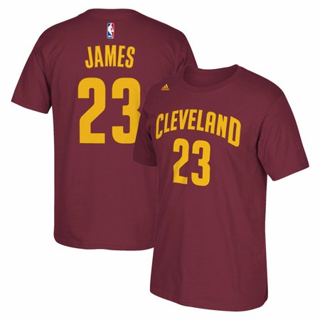 Lebron James Cleveland Cavaliers Nba Adidas Burgundy Player Name   Number Jersey  T Shirt For Men