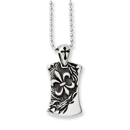 Stainless Steel Antiqued Fleur de lis Dog Tag 22in Necklace
