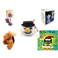 "Christmas Fun Gift Bundle [5 Piece] - I Just Rescued Some Wine"" Wine Glass Ornament - Heavenly Angels Ceramic Bells 4"" - Anchor Hocking Glass Snowman Head Bowl -  Moose With Plaid Backpack  5"" - Pet"