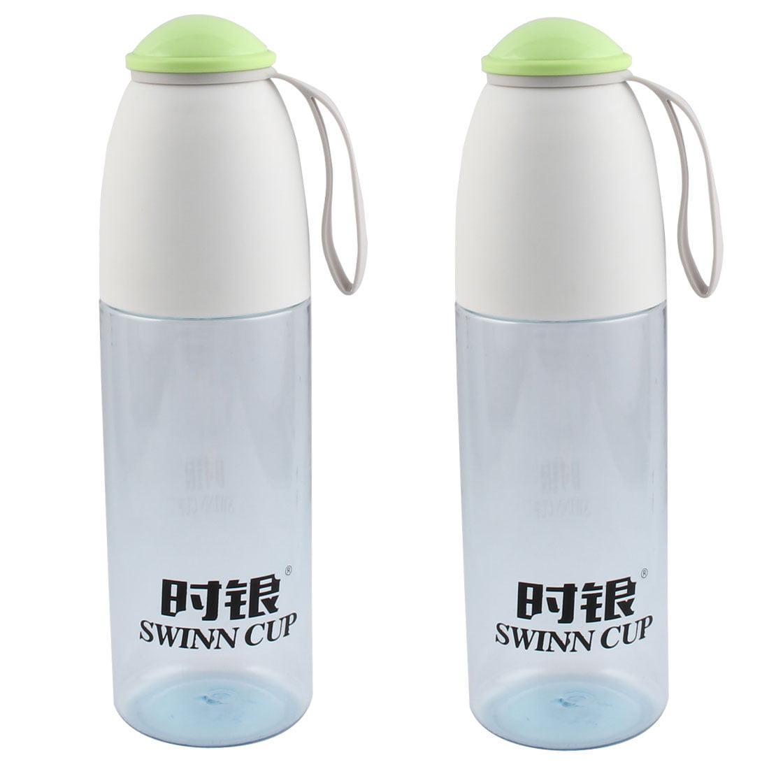 Unique Bargains 2 Pcs 800ml Plastic Sport Drinking Water Bottle Cup Mug White